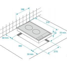 Placa modular Beko VITRO HDMC32400TX 30CM 2 ZONAS